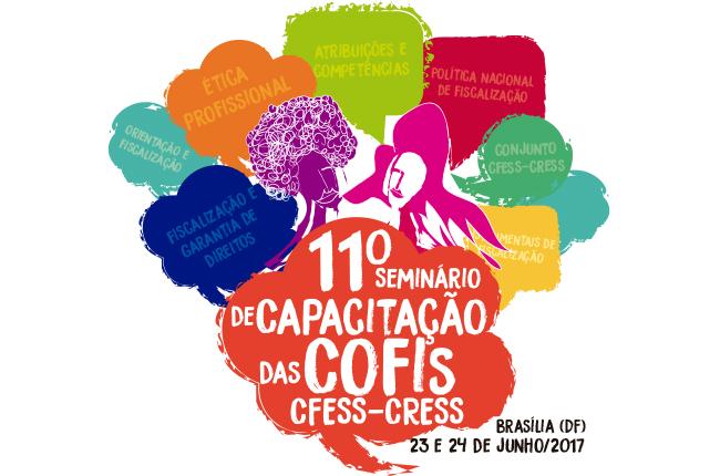 Imagem mostra logotipo do evento, que traz ilustração abstrata de pessoas coloridas e balões de diálogo e pensamento com palavras ligadas à Fiscalização Profissional