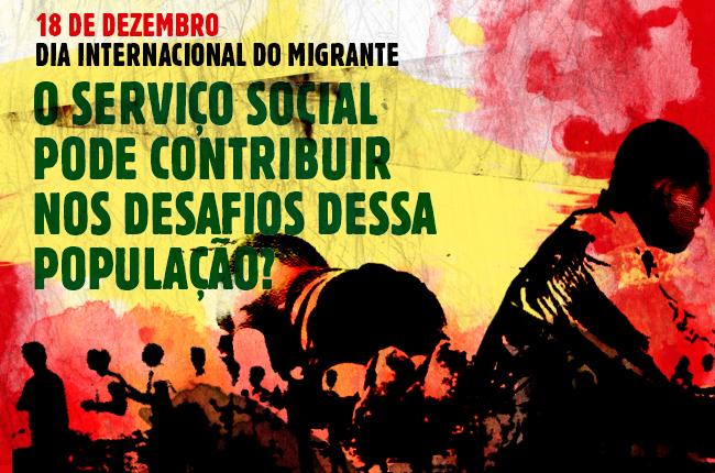Ilustração traz cartaz com dizeres Dia Internacional do Migrante