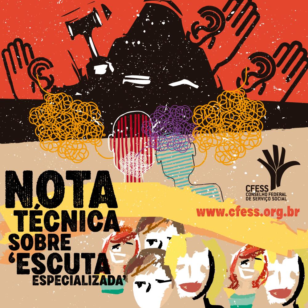 Imagem mostra ilustração de crianças abaixo de um emaranhado de pessoas que representam as políticas de proteção em contraposição ao viés de criminalização