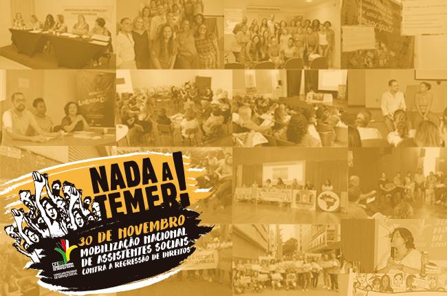 Fotomontagem com atividades do Dia Nacional de Mobilização