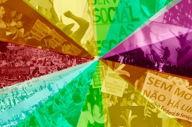 Fotomontagem com imagens de diversas manifestações com participação de assistentes sociais em 2013