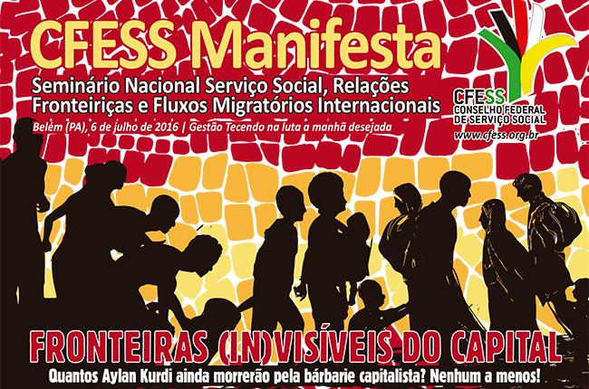 Recorte de imagem do CFESS Manifesta, com ilustração de pessoas migrantes e refugiadas