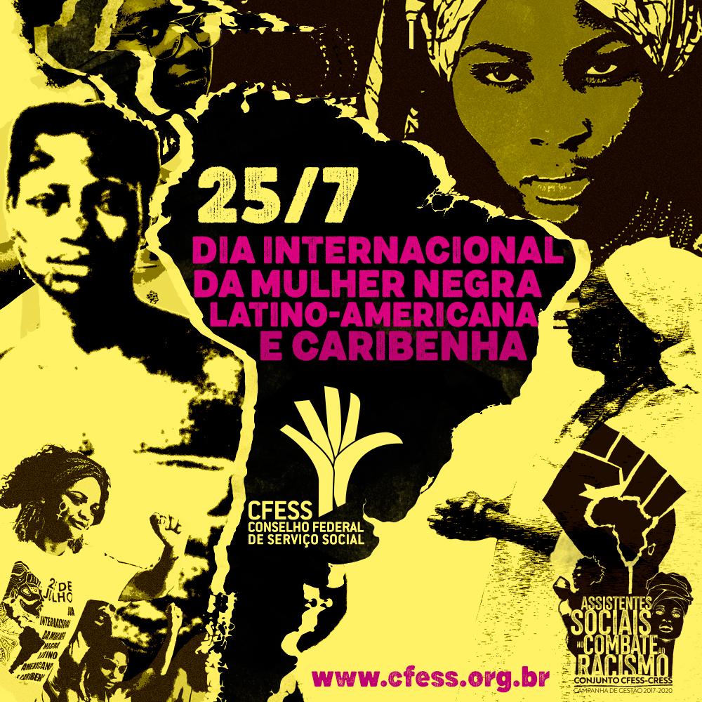 Ilustração com rostos de líderes negras, com as cores preta e amarela, em referência à campanha de gestão do Conjunto CFESS-CRESS.