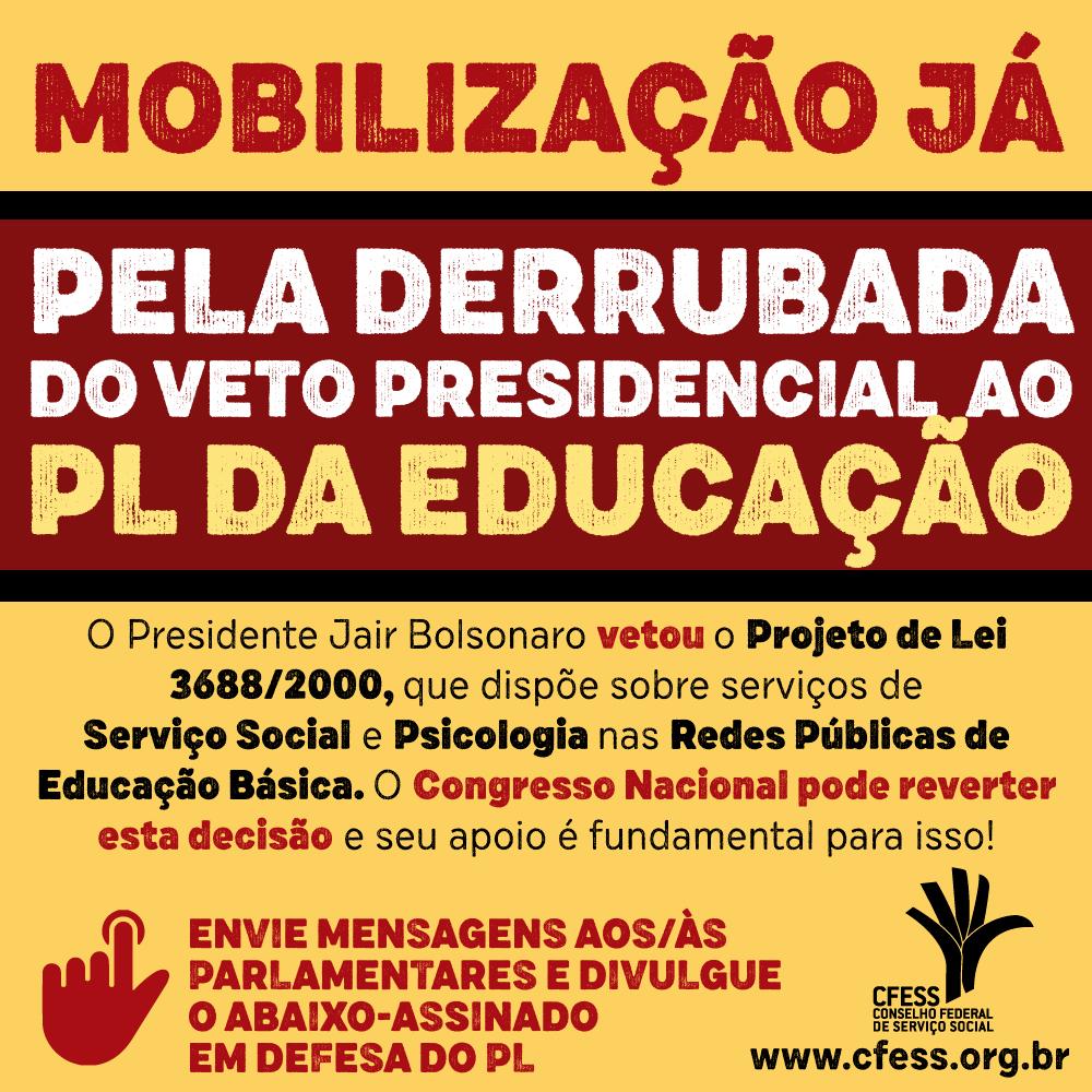 Imagem traz os dizeres Mobilização já pela derrubada do veto presidencial ao PL da Educação.