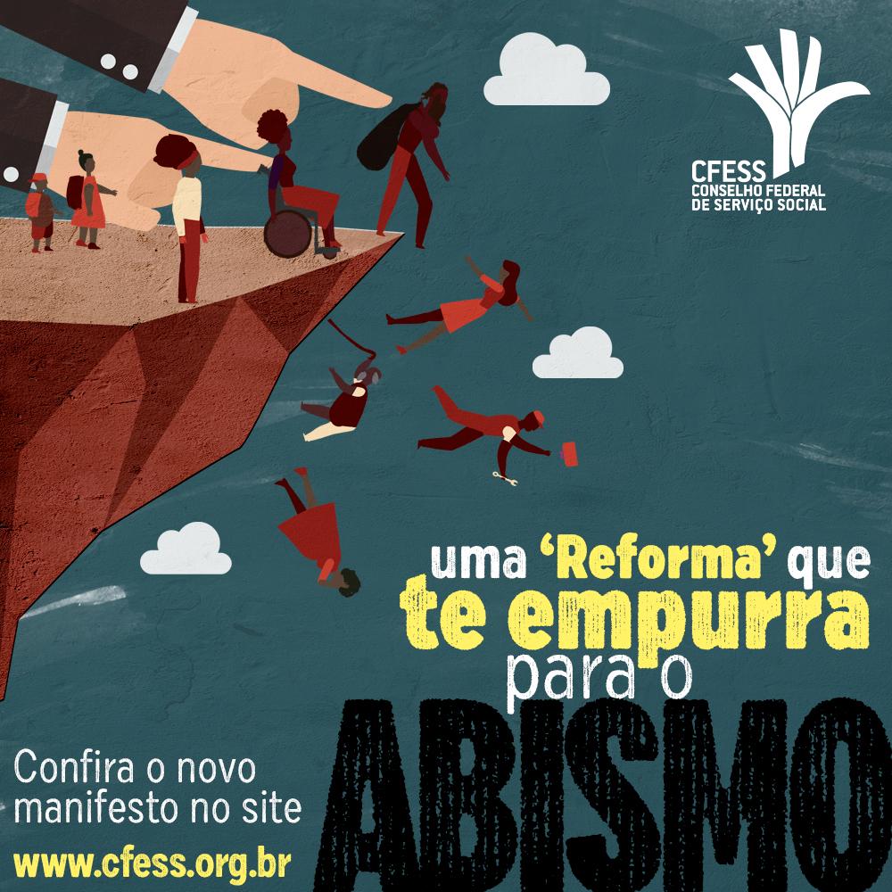 Imagem mostra ilustração de uma mão empurrando trabalhadores de um abismo, para simbolizar os efeitos da reforma da previdência.