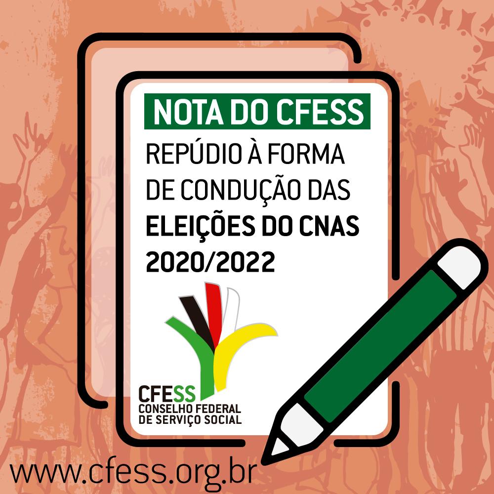 Ilustração de um tablet com o texto Nota do CFESS de Repúdio à forma de condução das eleições do CNAS.