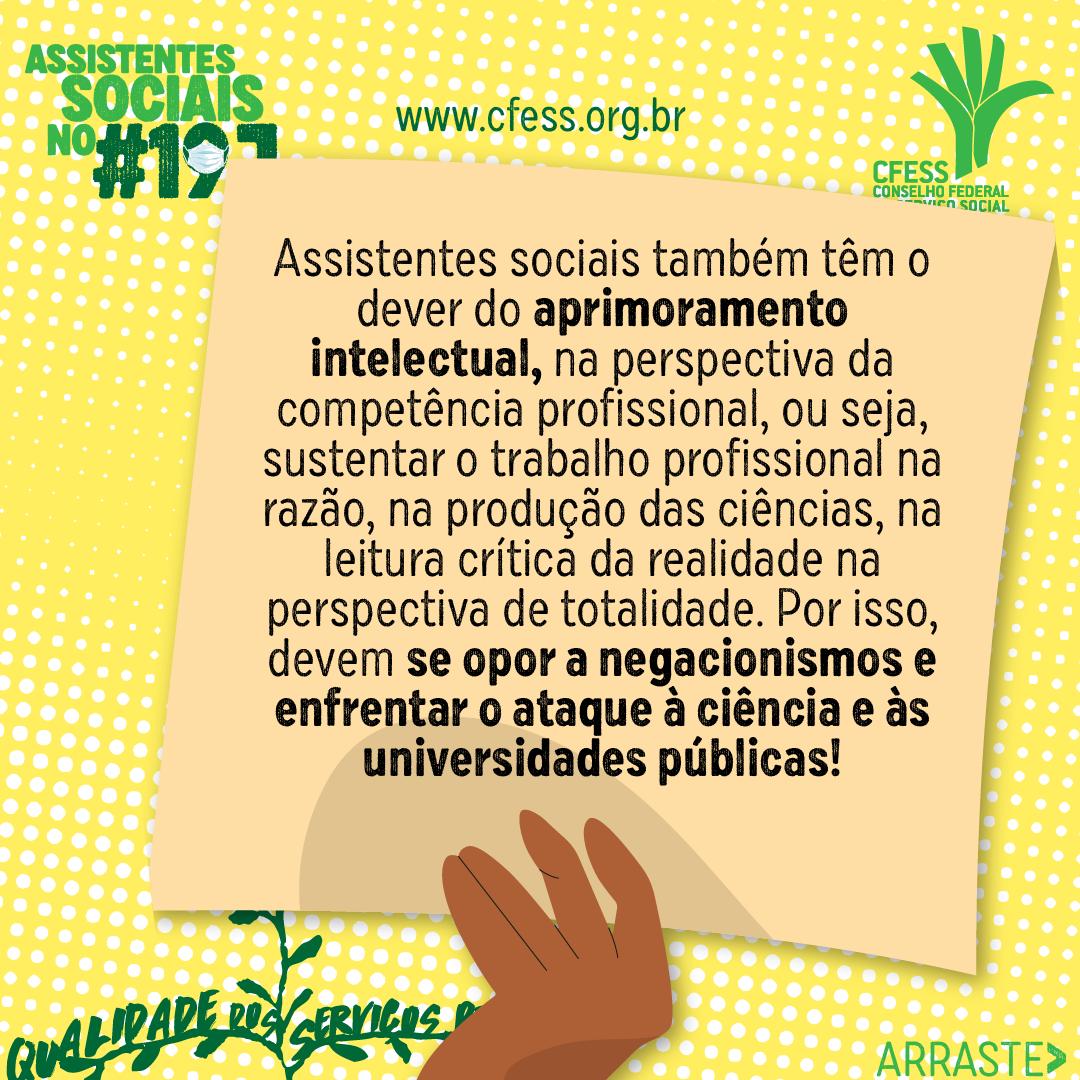 Card amarelo com texto Assistentes Sociais no 19J. Logo do CFESS. Desenho de mão com cartaz e texto traz o princípio da qualidade dos serviços prestados