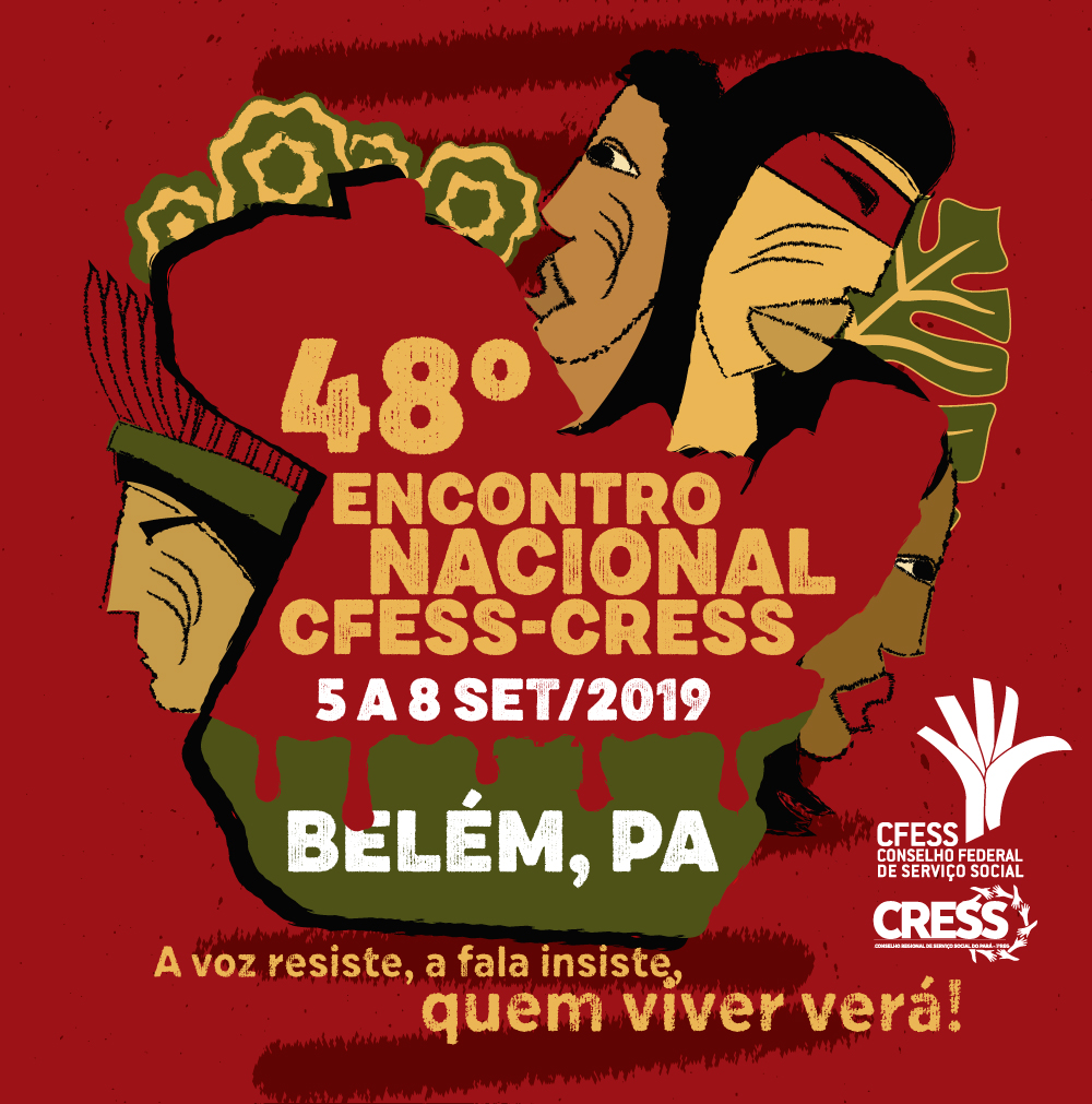 A arte do evento, que é uma ilustração do mapa do Pará sangrando, cercado por povos indígenas e da floresta tentando defendê-lo