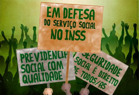 Arte ilustrativa em defesa do Serviço Social do INSS