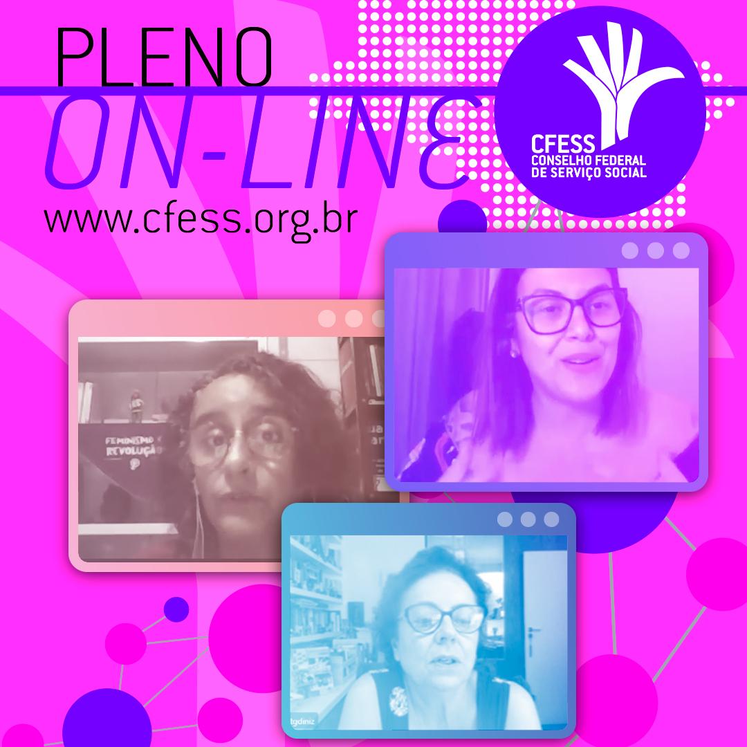 Card com fundo lilás e o título Pleno On-line traz imagens das convidadas que participaram dos debates, cada uma em um quadrado distinto.