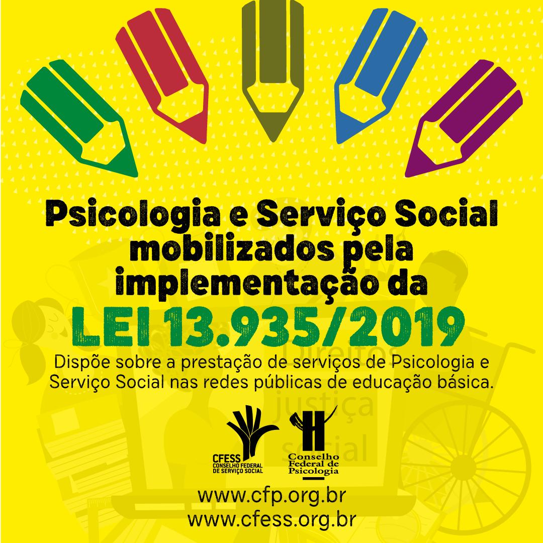Imagem mostra uma série de desenhos de lápis coloridos apontados para o texto Psicologia e Serviço Social mobilizados para implementação da Lei 13.935
