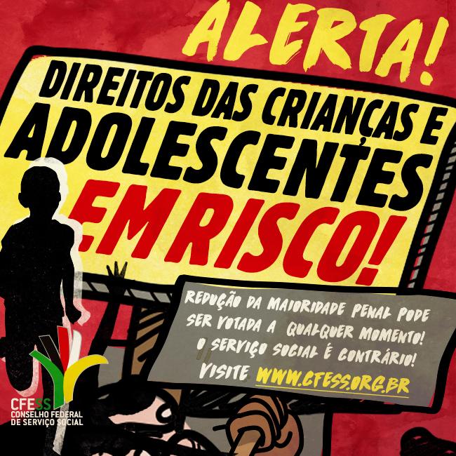 Imagem mostra alerta de que direitos de crianças e adolescentes estão ameaçados, com ilustração de criança correndo