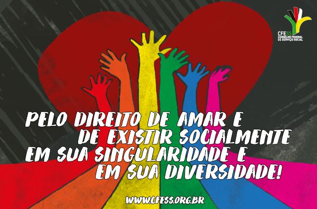 Imagem mostra várias mãos nas cores da bandeira LGBT (arco-íris) em torno de um coração