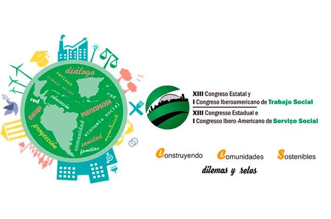 Imagem mostra arte do evento: ilustrações de prédios, fábricas, pessoas e árvores ao redor do mundo