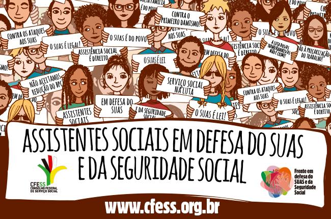Arte ilustrativa sobre a defesa de assistentes sociais pelo Suas