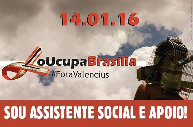 Imagem mostra céu de Brasília com nuvens cinzas e jovem com gaiola na cabeça, junto com o texto Fora Valencius