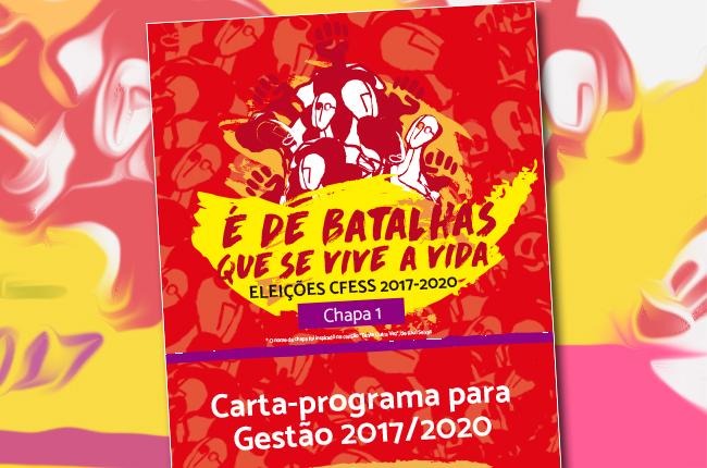 Imagem mostra capa do programa, que contem ilustração de figuras com braços erguidos e o texto 'é de batalhas que se vive a vida'