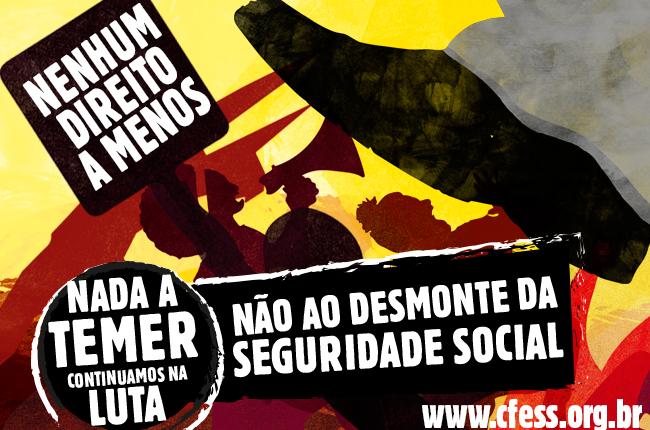 Imagem mostra ilustração de homens e mulheres lutando para não serem pisoteados, uma referência ao massacre que a seguridade social vem sofrendo por parte do governo Temer