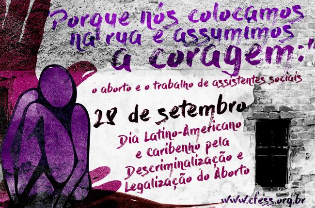Imagem mostra um muro e um grafite de um corpo de uma mulher no canto esquerdo, mãos atrás como proteção e as cores roxa e lilás