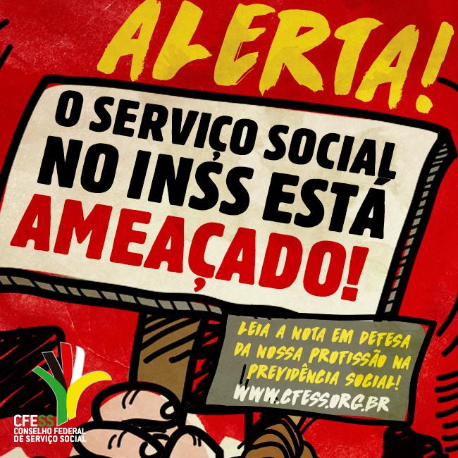 Imagem mostra trabalhadores/as segurando placas de alerta ao desmonte do Serviço Social no INSS