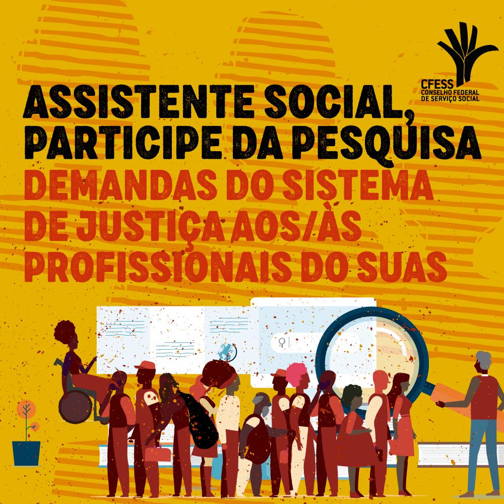 Arte ilustrativa com várias pessoas diferentes, representando trabalhadores/as do Suas e o convite à participação da categoria na pesquisa.