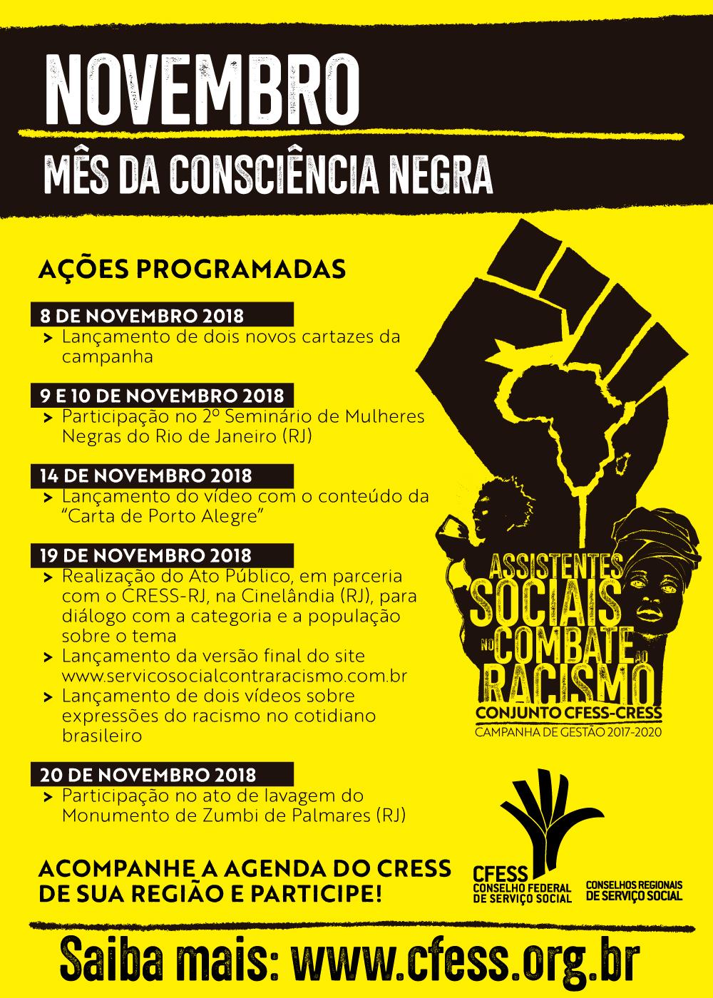Imagem traz o resumo das atividades programadas pelo CFESS para o mês da Consciência Negra
