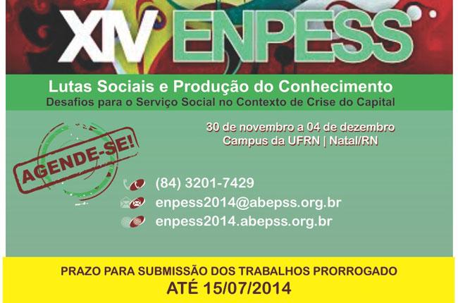 Banner do Enpess 2014, que informa sobre a prorrogação para o envio de trabalhos até 15 de julho
