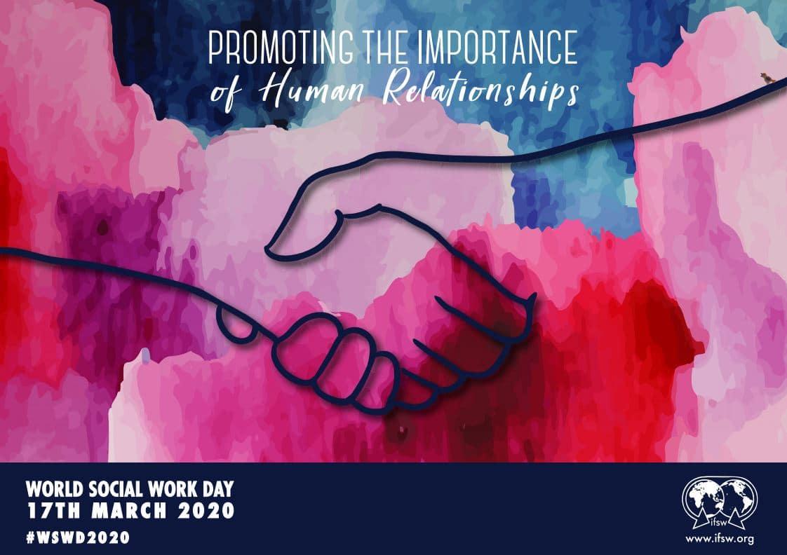 Imagem mostra a arte do cartaz, uma aquarela azul e roxa, com o texto em inglês Promovendo a importância das relações humanas