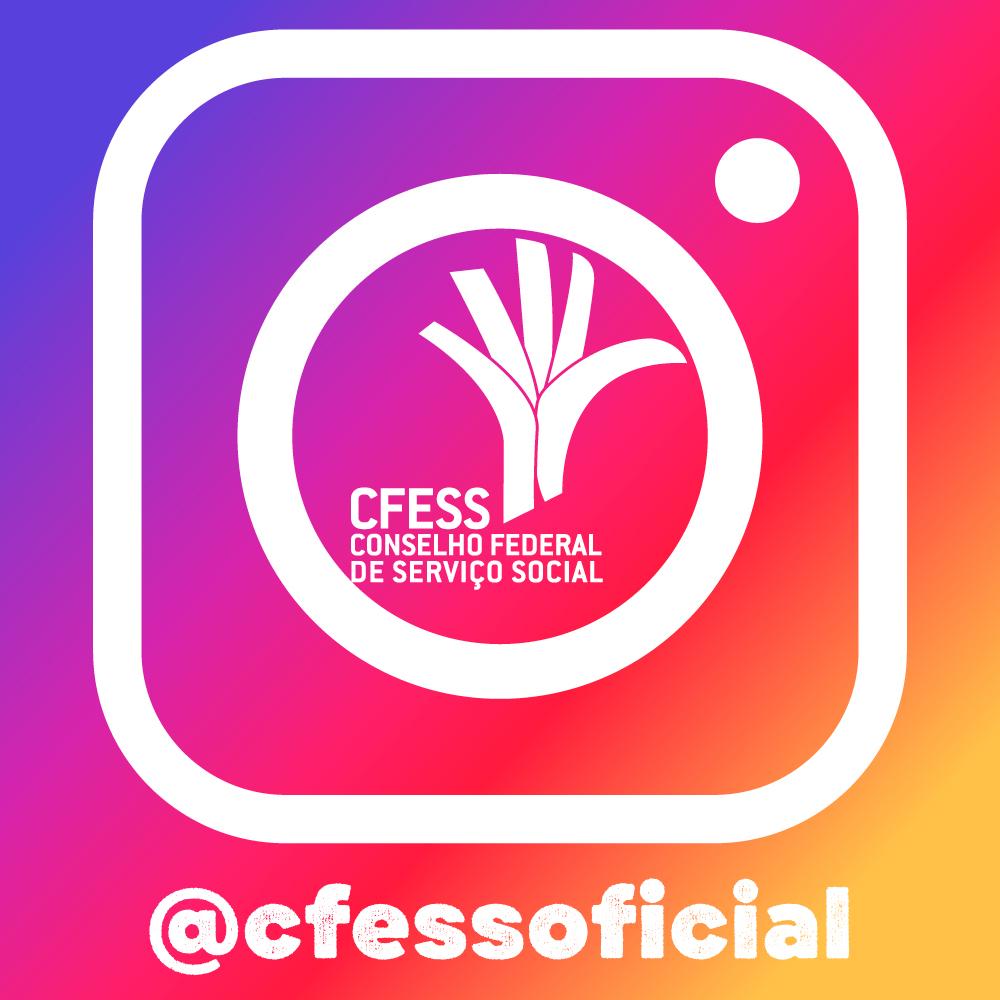 Imagem mostra uma fusão da logomarca do CFESS com a do Instagram, que é uma câmera fotográfica, em um fundo colorido peculiar do ícone da rede social