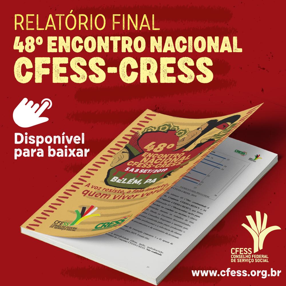 Imagem mostra capa do relatório, que traz a arte do evento: uma mapa do Pará, com indígenas em torno dele, as cores vermelho e verde representando a luta dos povos originários pela Amazônia