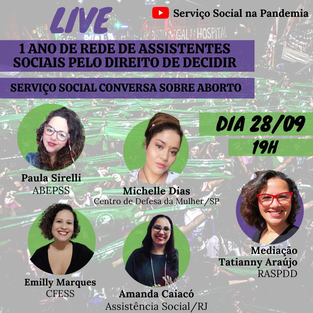 Card traz anúncio da Live da Rede de Assistentes sociais pelo direito de decidir, com imagens das palestrantes em círculos com fundo verde.