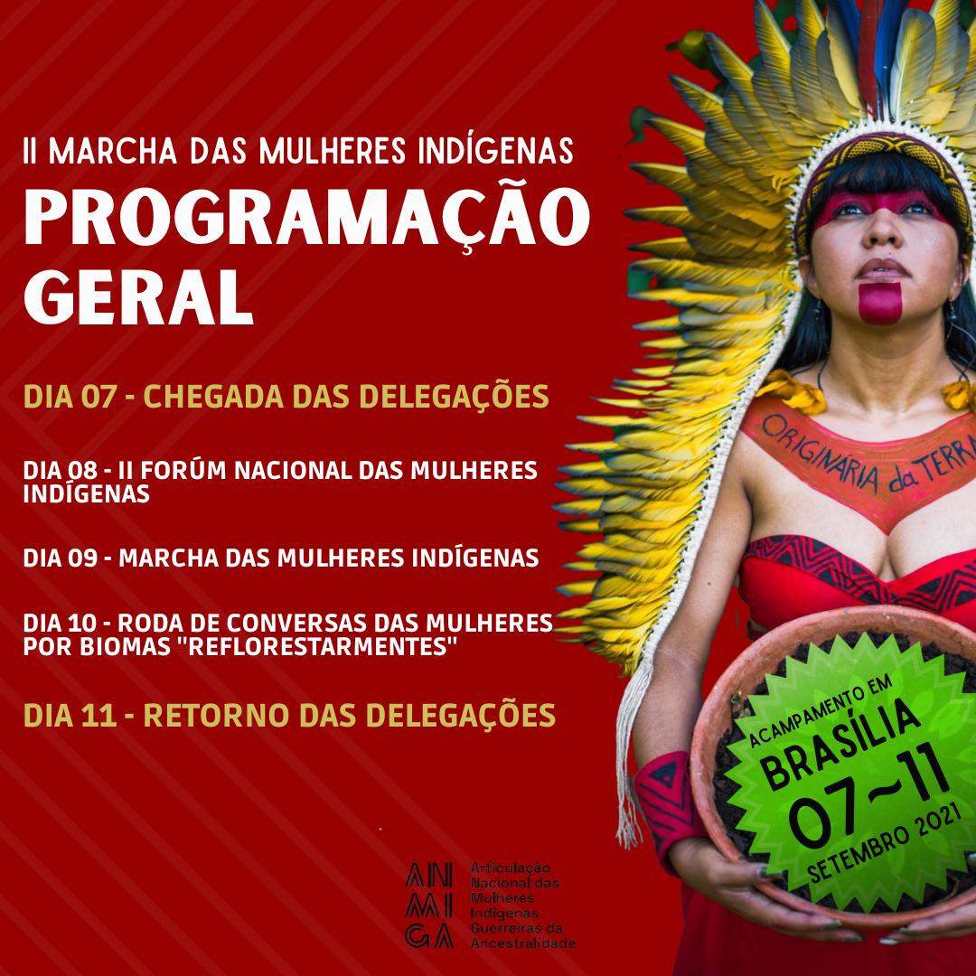Card com fundo vermelho traz a programação da 2ª Marcha das Mulheres Indígenas. Ao lado direito, imagem de uma mulher indígena com trajes indígenas e pinturas no rosto.