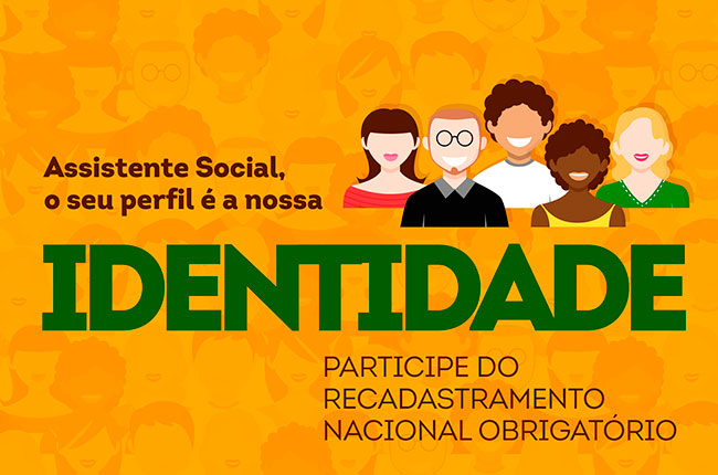 Recorte do cartaz de divulgação da Campanha de Recadastramento Nacional Obrigatório de Assistentes Sociais