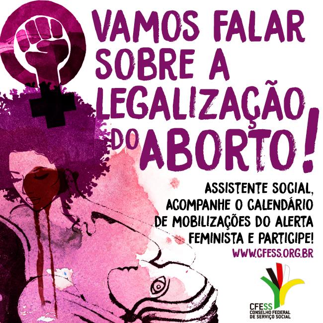 Imagem mostra ilustração de mulheres e o símbolo do feminismo e a chamada de texto para participar do alerta feminista
