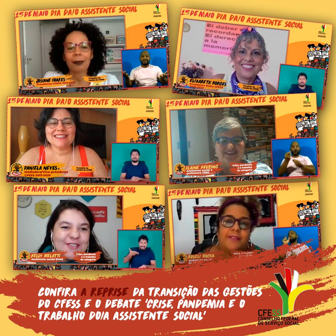 Montagem com print da imagem das participantes da live do 15 de maio, durante suas falas.