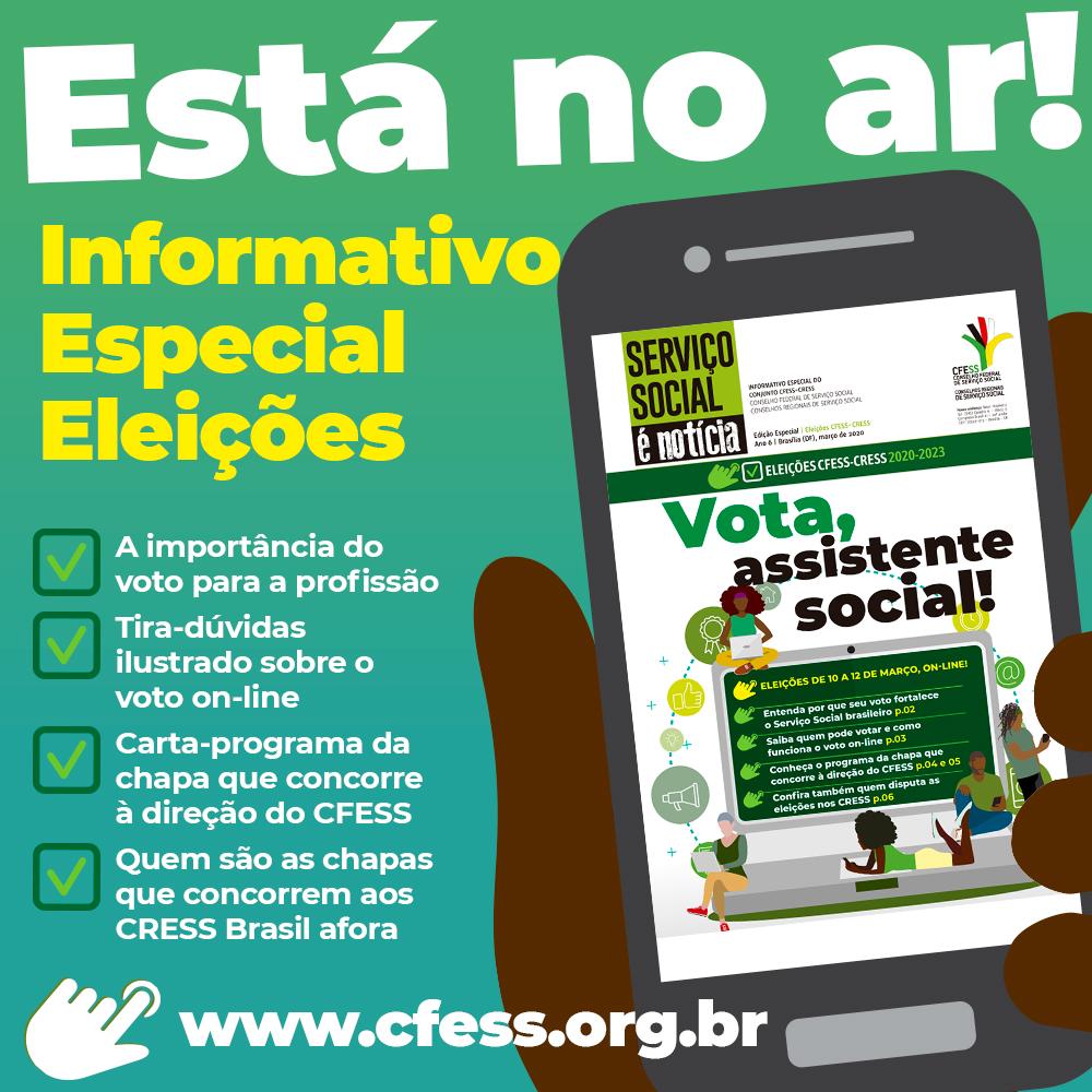 Imagem mostra a mão pessoa negra segurando um celular. Na tela, a capa do informativo com a chamada Vota, Assistente Social. Abaixo, um texto com os destaques da edição