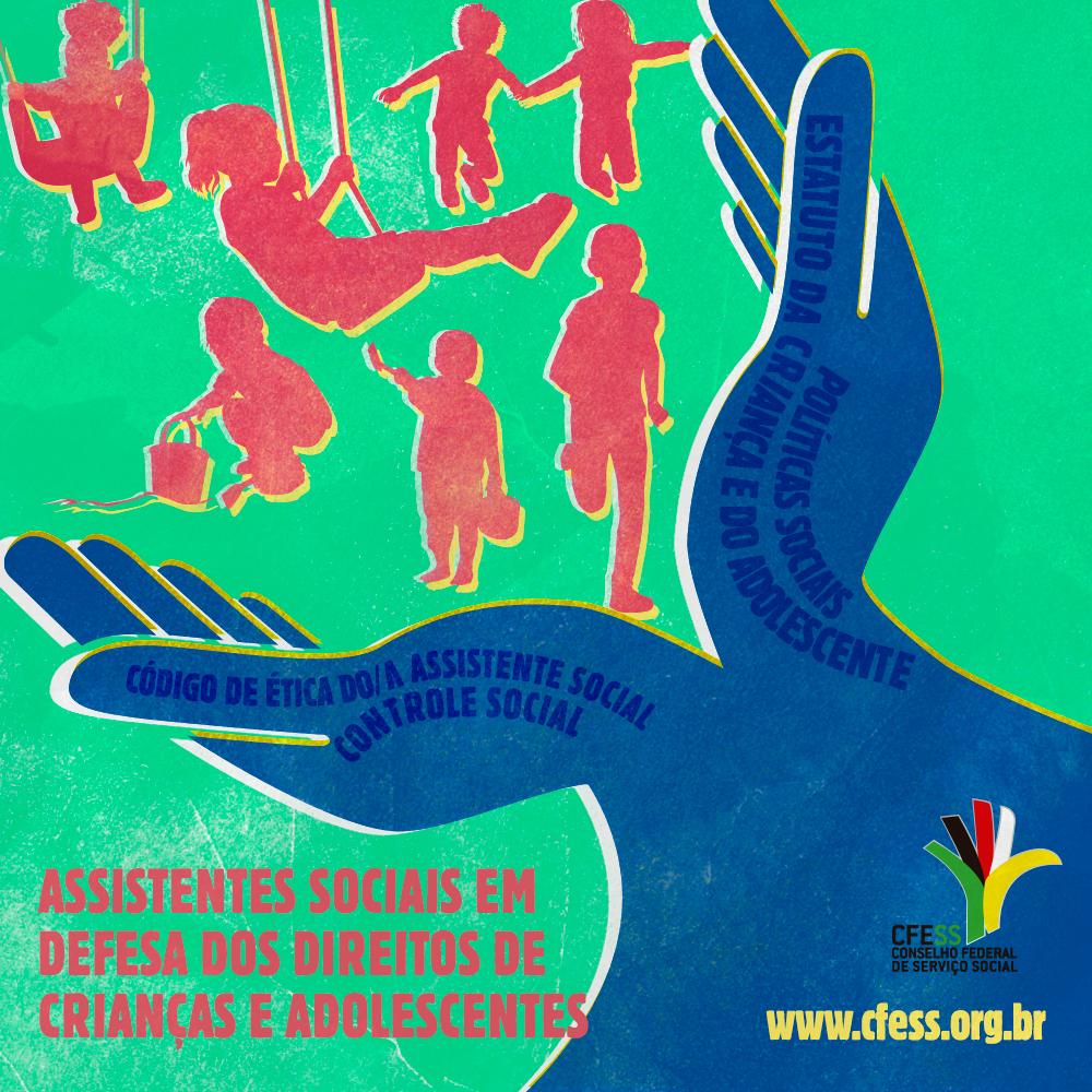 Ilustração de duas mãos, em cor azul, como se acolhessem crianças brincando.