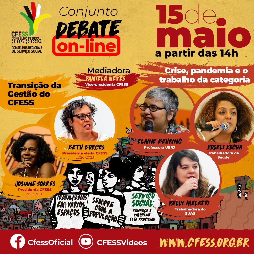 Imagem mostra foto das debatedoras em círculos espalhados sobre a arte do Dia do/a Assistente Social, ilustrações de pessoas com placas e ao fundo favelas e área rural
