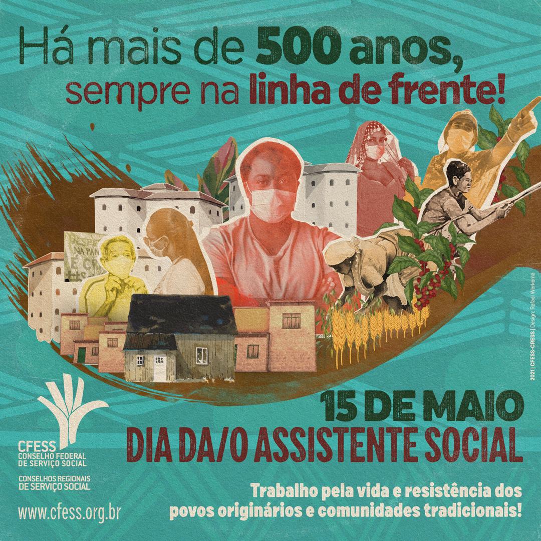 Card verde com  traz no centro povos quilombolas, ciganos, agricultores, ribeirinhos e um assistente social negro, todos em meio a cidades e plantações.