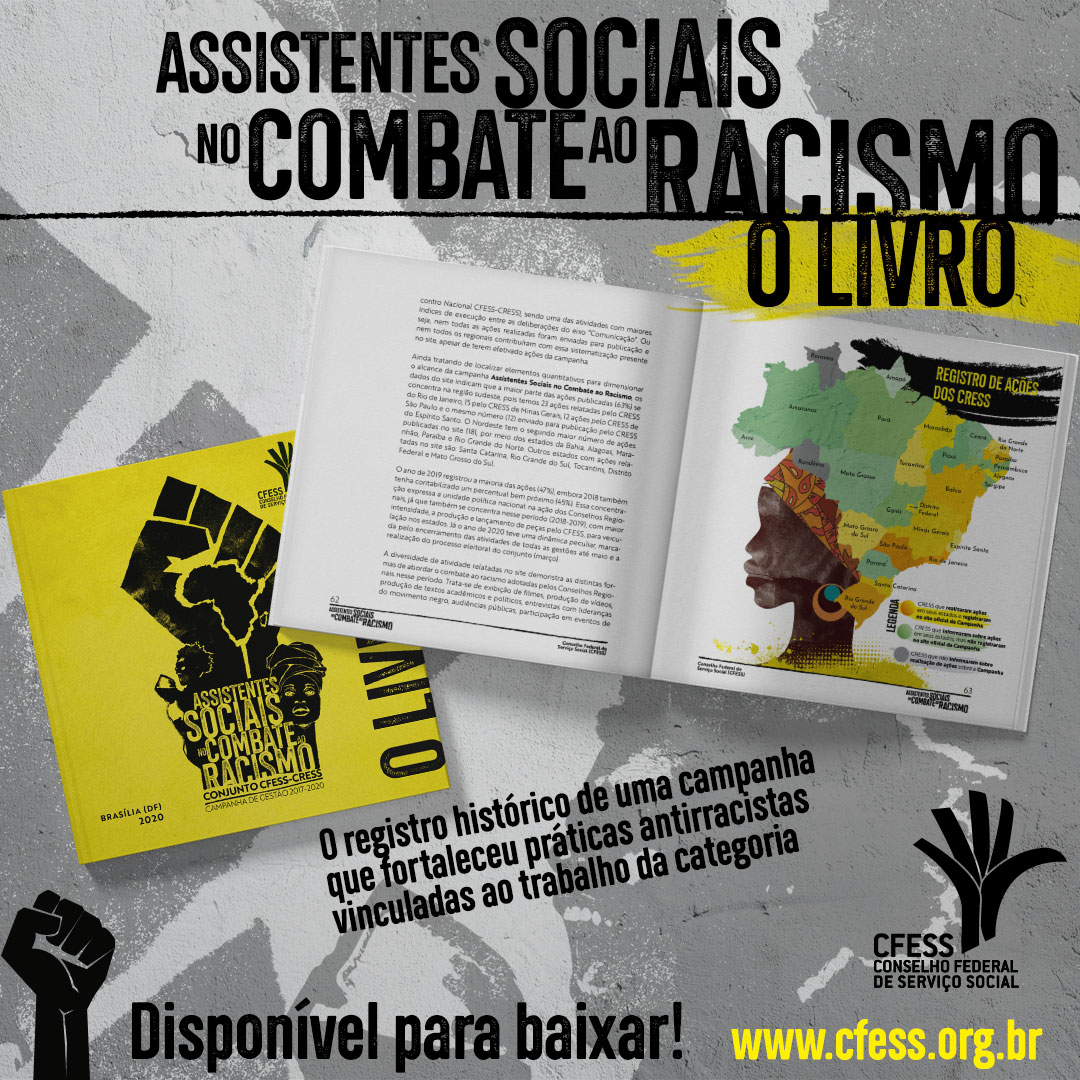 Imagem mostra o livro da campanha, aberto em uma página que traz uma ilustração da cabeça de uma mulher negra com um mapa do Brasil simbolizando um turbante.