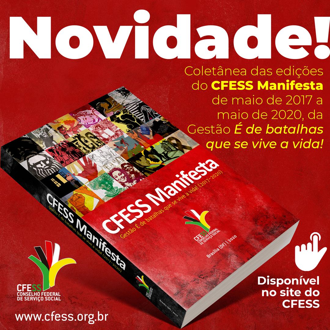 Imagem com fundo vermelho mostra a capa do livro CFESS Manifesta, com a ilustração de algumas edições do informativo na capa.