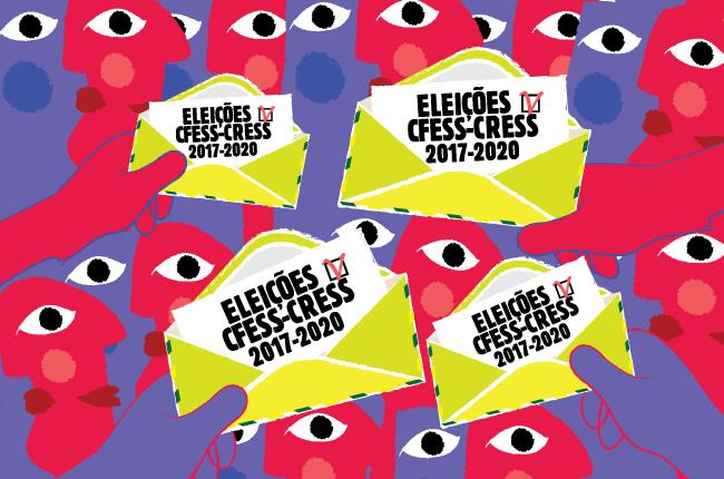Arte de lançamento do Processo Eleitoral tem ilustrações de rostos coloridos, olhos e mãos, estas segurando um envelope como se fosse a cédula eleitoral