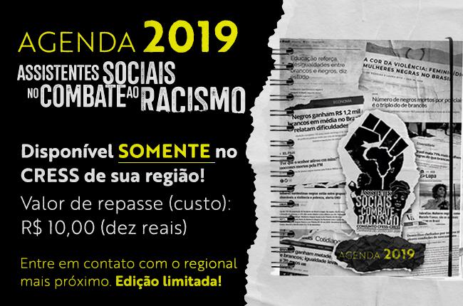 Imagem mostra banner de divulgação, com a capa da agenda que é uma colagem de manchetes que mostram vários tipos de discriminação contra pessoas negras, ao lado do valor da agenda, que é de 10 reais