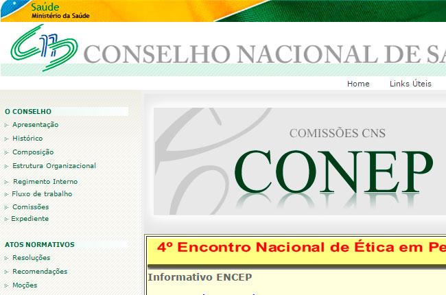 Recorte da imagem do site da Conep