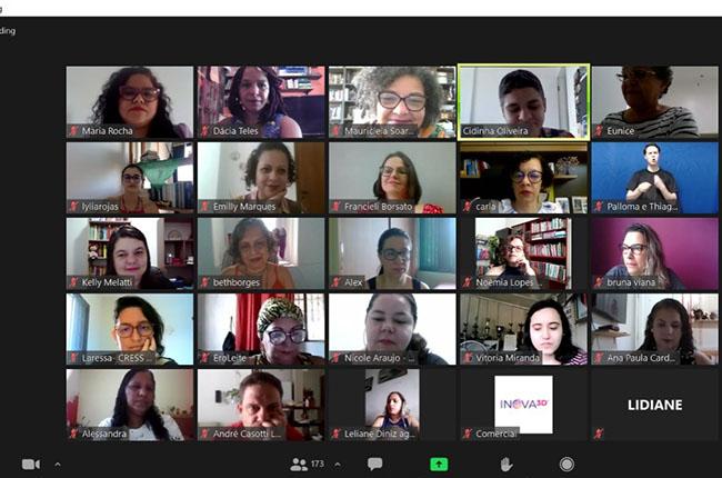 Imagem mostra participantes da plenária, com a imagem de cada pessoa em um quadro diferente, em print da reunião no aplicativo de reuniões.