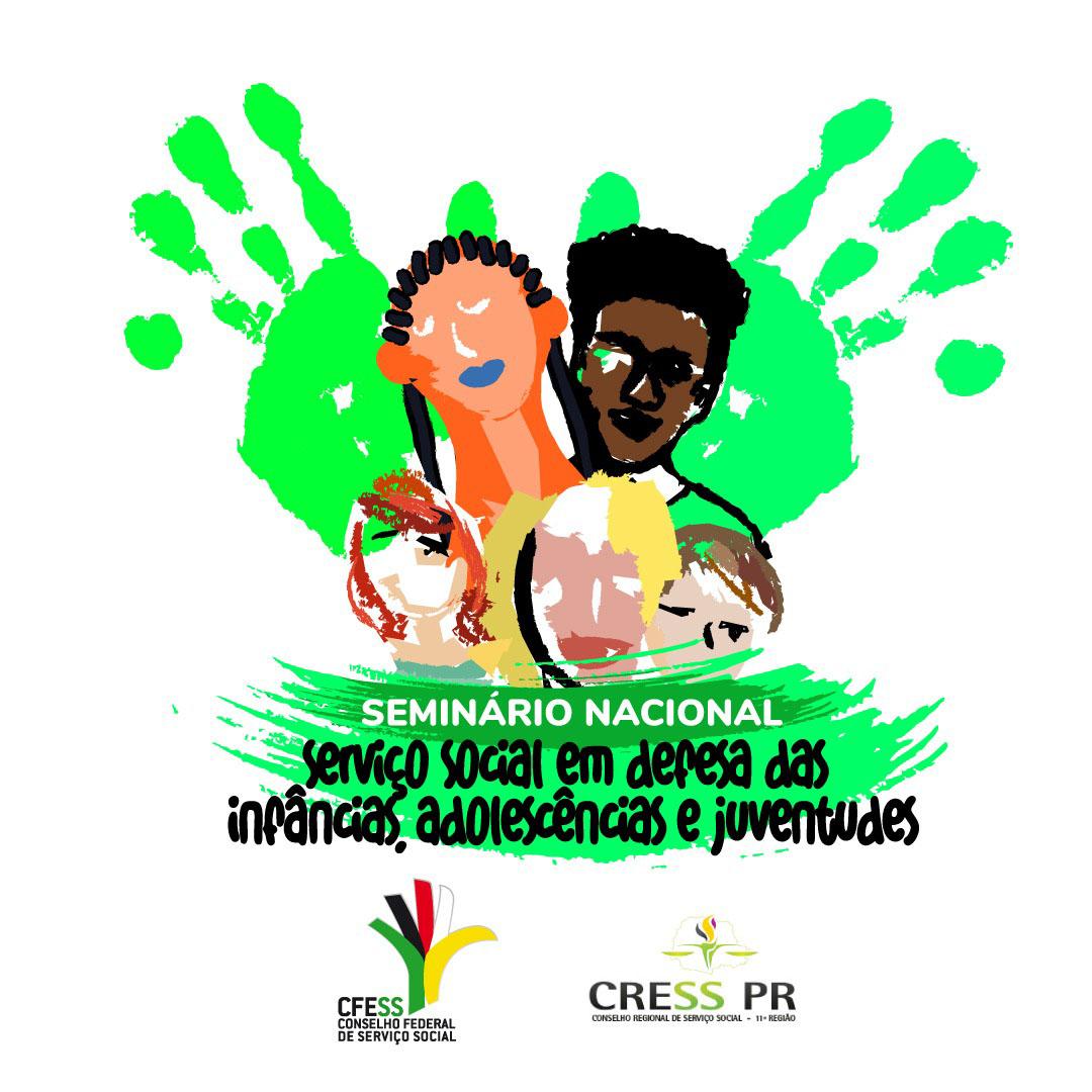 Imagem com fundo branco traz ilustração de crianças, jovens e adolescentes diferentes e também com deficiências, sobre duas pegadas de mãos na cor verde e o título do seminário.