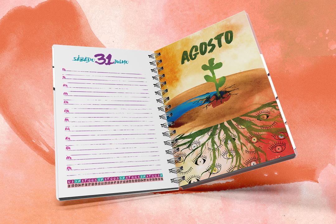 Imagem mostra a agenda aberta. De um lado uma página de compromisso diário e de outro uma ilustração do mês de agosto.