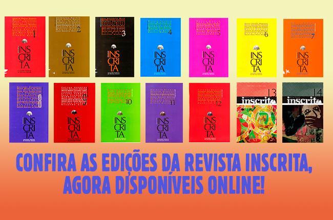 Montagem com as capas das 14 edições da Revista Inscrita
