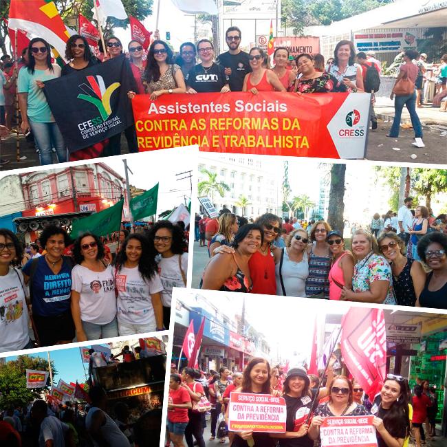 Imagem mostra colagem de fotos com assistentes sociais e conselheiras do CFESS em diversos protestos pelo Brasil