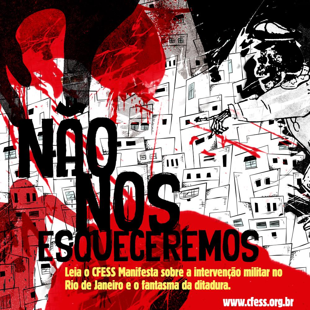 Imagem mostra ilustração digital de um coronel com rosto de caveira ordenando ataque a uma favela, já cheia de marcas de sangue.